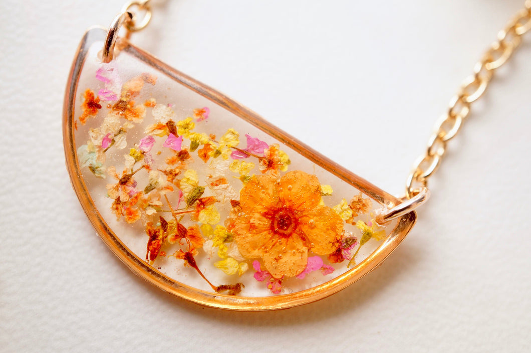 Real Pressed Flowers in Resin Necklace, Half Circle in Orange Yellow Pink and White mix