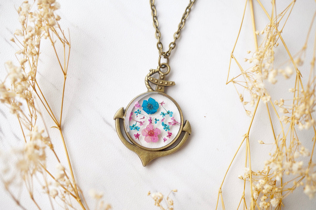 Real Pressed Flowers in Resin Anchor Necklace in Pink and Blue