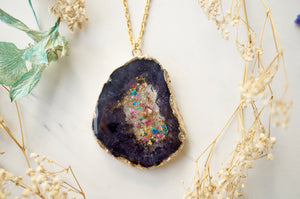 Real Dried Flowers and Resin Necklace, Dark Gray Druzy Geode in Gold and Party Mix