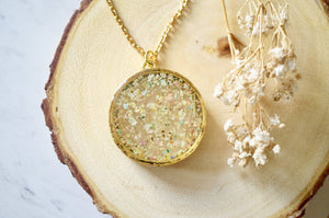 Real Dried Flowers in Resin, Gold Circle Necklace in Pastel Mix