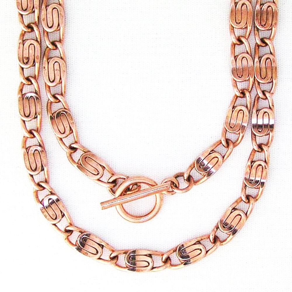 Scroll Chain | Copper Jewelry Set | Solid Copper Chain Necklaces | Bracelet SET66