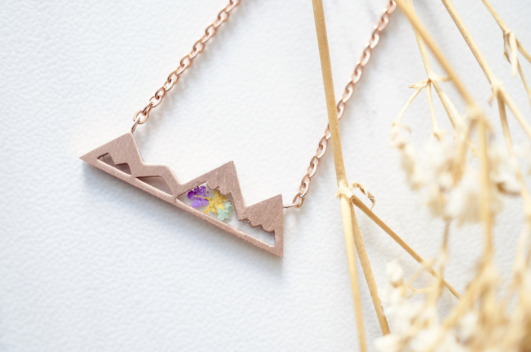 Real Pressed Flowers and Resin Necklace, Rose Gold Mountains