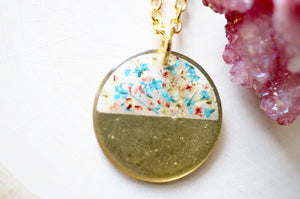 Real Pressed Flowers in Resin, Brass Circle Necklace in Teal Pink Yellow