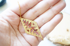 Real Dried Flowers in Resin, Gold Tribal Necklace in Red Mix