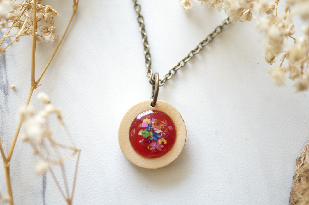 Real Dried Flowers in Resin Necklace, Wood Circle in Magenta and Party Mix
