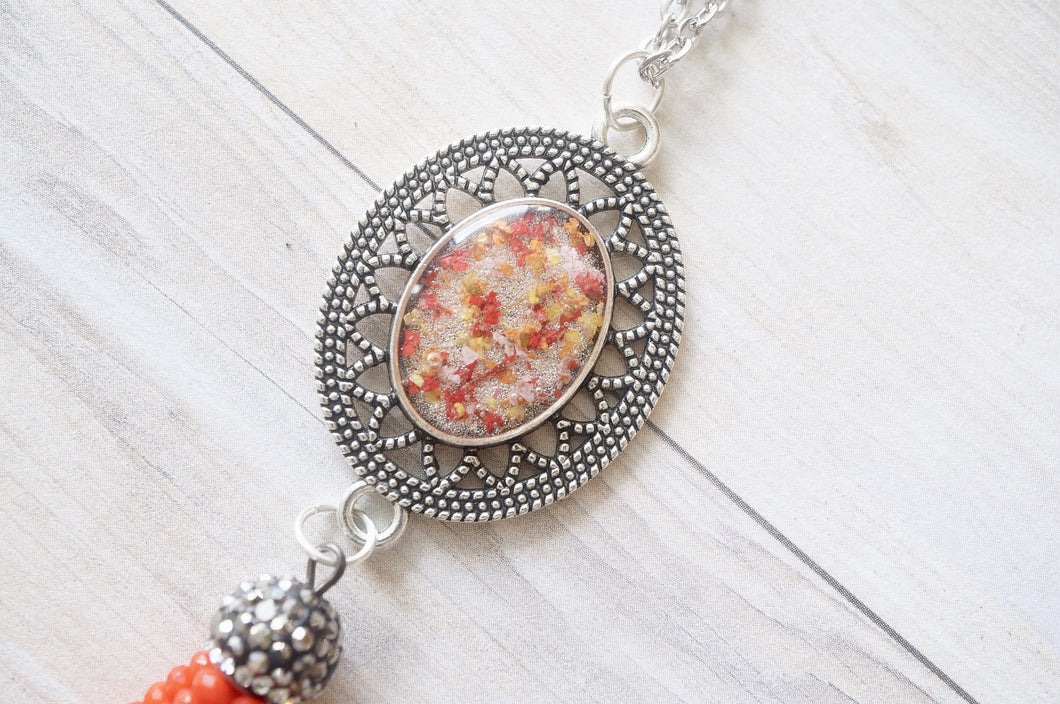 Real Pressed Flowers and Resin Necklace, Silver in Red Orange and Yellow With Red Beaded Tassel