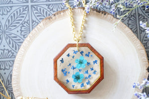 Real Dried Flowers and Resin, Real Wood Necklace in Blue and Teal