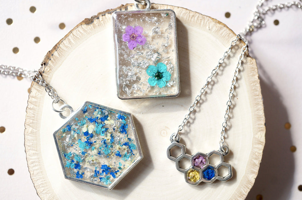 Real Dried Flowers in Resin Silver Hexagon Necklace in Blue Teal Green Silver Flake Mix