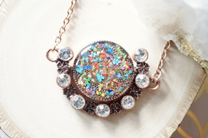 Real Dried Flowers in Resin Necklace, Reversible Copper and Crystal in Party and Pastel Mix