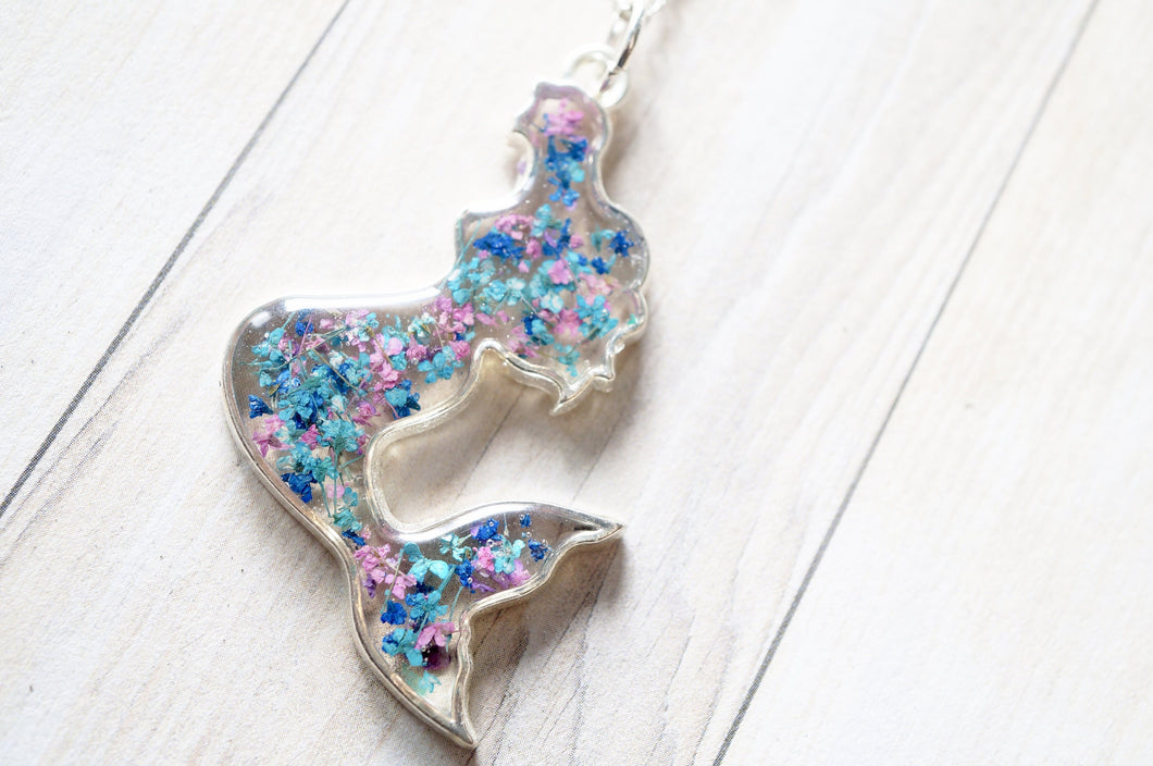 Real Dried Flowers in Resin Necklace, Silver Mermaid in Pink Blue Teal
