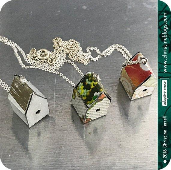 Tiny White Birdhouses Boho Upcycled Tin Necklace