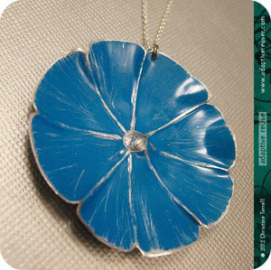 True Blue Morning Glory Flower Tin Necklace OOAK Birthday Gift
