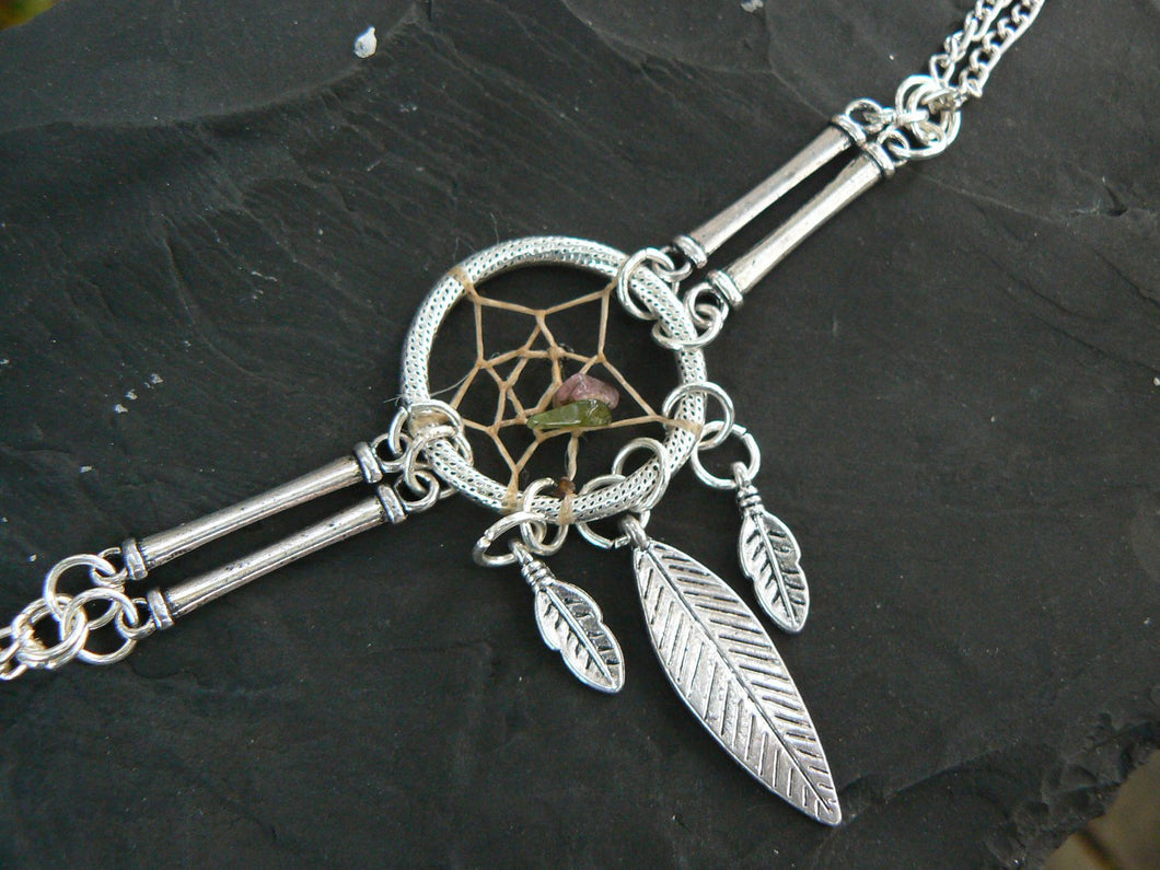 dreamcatcher bracelet silver tone with tourmaline tribal inspired