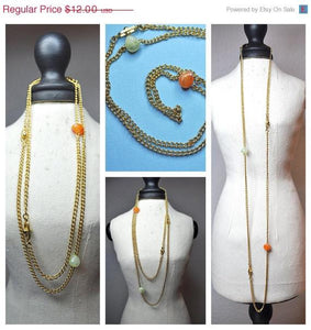 "Vintage Sarah Coventry 1975 Nature's Treasure Necklace, 33"" Long, Gold and Faux Jade Stones, Fancy Beads, Organic Simplicity! #a541"