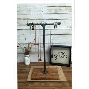 Large Industrial pipe jewelry stand