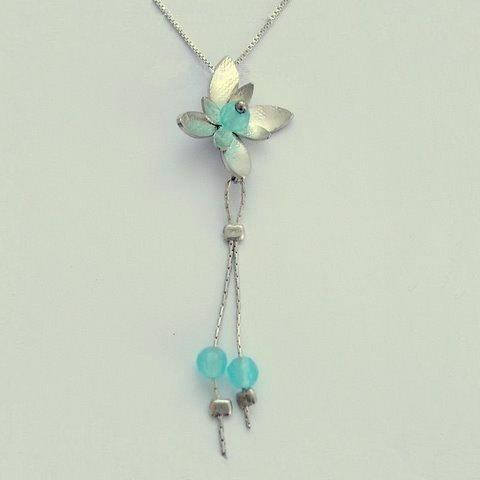 Long Silver Pendant, flower pendant, blue quartz necklace, silver chain, floral necklace, flower necklace, blue quartz - Hanging vine N8981
