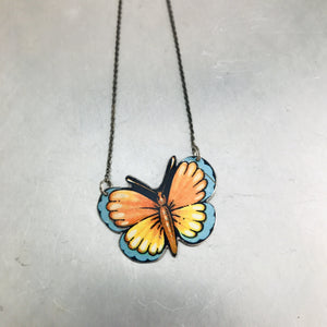 Little Orange & Blue Butterfly Upcycled Tin Necklace Tin Anniversary Gift