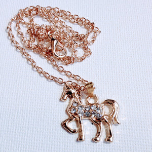 HORSE CRYSTAL GOLD NECKLACE