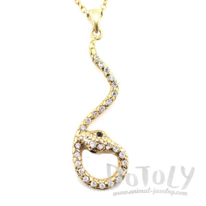 Large Dangling Snake Pendant Necklace in Gold with Rhinestones