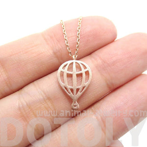 Miniature Hot Air Balloon Shaped Cut Out Charm Necklace in Rose Gold | DOTOLY