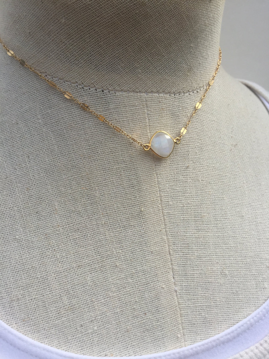 Moonstone and Razor chain Necklace