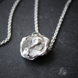 Organic Water Cast Sterling Silver Mushroom Necklace.