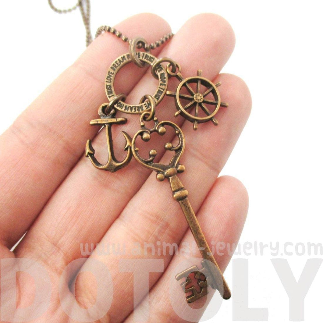Nautical Themed Anchor Helm and Skeleton Key Charm Necklace in Brass | DOTOLY