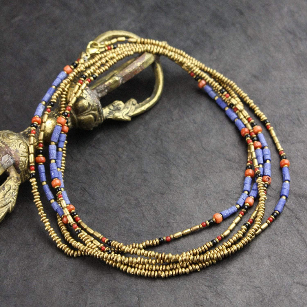 Lapis and Gold Long Wrap Necklace