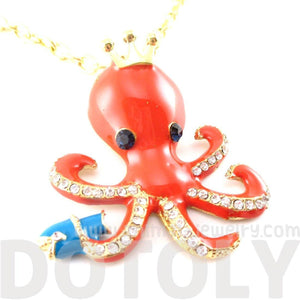 Octopus with Crown Shaped Animal Pendant Necklace in Orange | DOTOLY