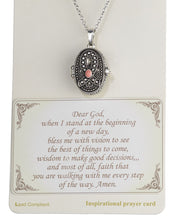 "Load image into Gallery viewer, Pink Ribbon with Prayer Scroll inside Locket 18"" Textured Necklace by Jewelry Nexus"