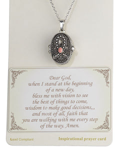 "Pink Ribbon with Prayer Scroll inside Locket 18"" Textured Necklace by Jewelry Nexus"