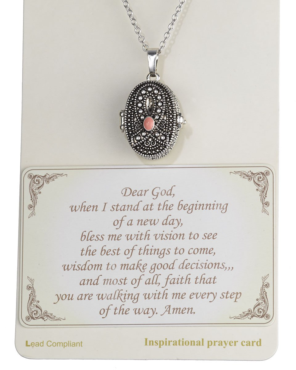 Pink Ribbon with Prayer Scroll inside Locket 18