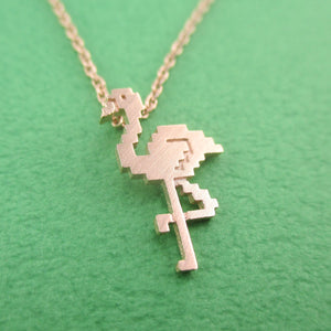 Pixel Flamingo Bird Shaped Pendant Necklace in Rose Gold