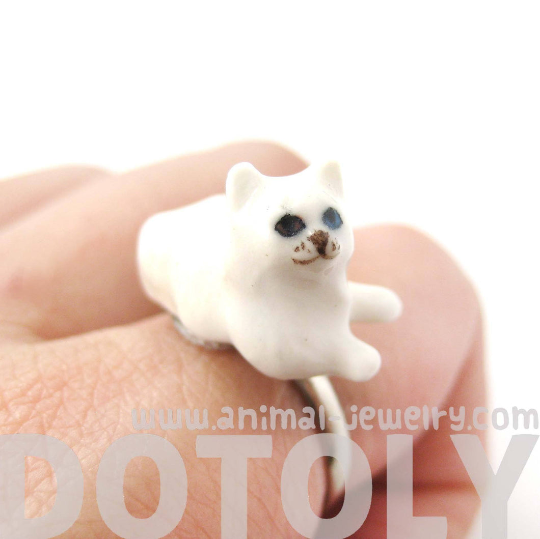 Porcelain Ceramic Multi Colored Odd Eyed Kitty Cat Animal Adjustable Ring | Handmade
