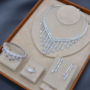 Long Tassel Drop 4PC Saudi Arabia Silver Jewelry Sets For Women Wedding Zircon Crystal CZ Indian Bridal Jewelry Set