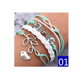 New charm bracelet Fashion Lover Justin Bieber Friendly Alloy PU Leather Wax Rope Braided Bracelet For Women jewelry Gift