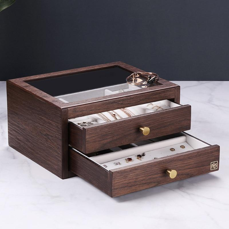 JTO 2019 Wooden jewelry box organizer With Drawer Glass Display Earring Ring Necklace Organizer Women Jewellry Display Box