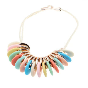 New Style Hot Sale Fashion Colorfully Acrylic Bead Charm Cord Braided Statement  Necklace Women Wholesale Taki