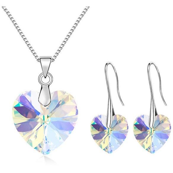 Original Crystals From SWAROVSKI Heart Pendant Necklaces Earrings Jewelry Sets For Women & Girls