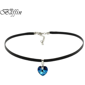 Heart Pendant Choker Necklace Crystals From SWAROVSKI Elements Rope Chain Collier For Women, ideal Birthday or Mother's Day Gift!