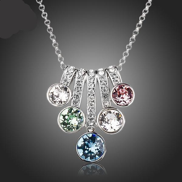 Flower With Colorful Stellux Austrian Crystals Pendant Necklace TN0143