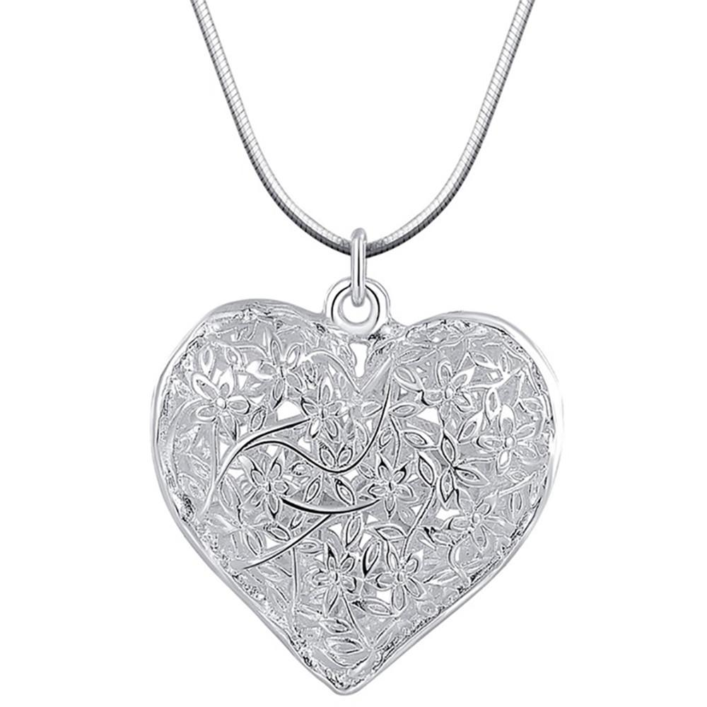 Fashion Jewelry Charm Silver Plated Pendant Heart Hollow Necklace Elegant Retro