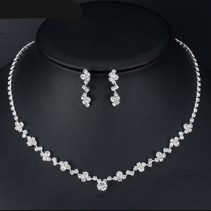 Mecresh 2017 Fashion Geometric Bridal Jewelry Sets for Women Clear Crystal Necklace Earrings Sets Party Wedding Jewelry MTL507