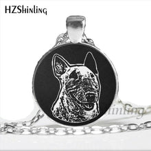 Load image into Gallery viewer, NS-00793 Bull Terrier Dog Cute Animal Photo Glass Necklace Steampunk Silver Long Chain Pendant Jewelry Best Gift For Friend HZ1