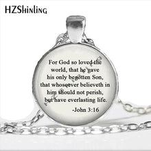 Load image into Gallery viewer, God so loved the world Jewelry Scripture John 3:16 quote Necklace