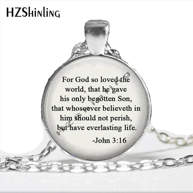 God so loved the world Jewelry Scripture John 3:16 quote Necklace