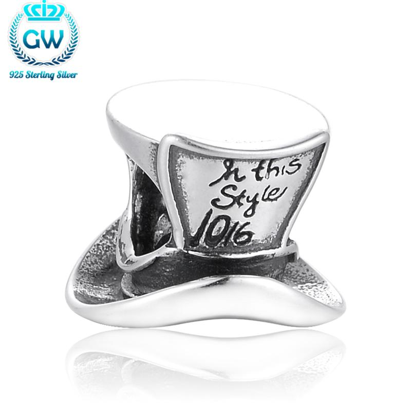 Sterling Silver 925  Jewelry Gentleman Hat Beads Charms Fit Brand Brancelets Diy Gift To Friends Brand GW Jewelry T113