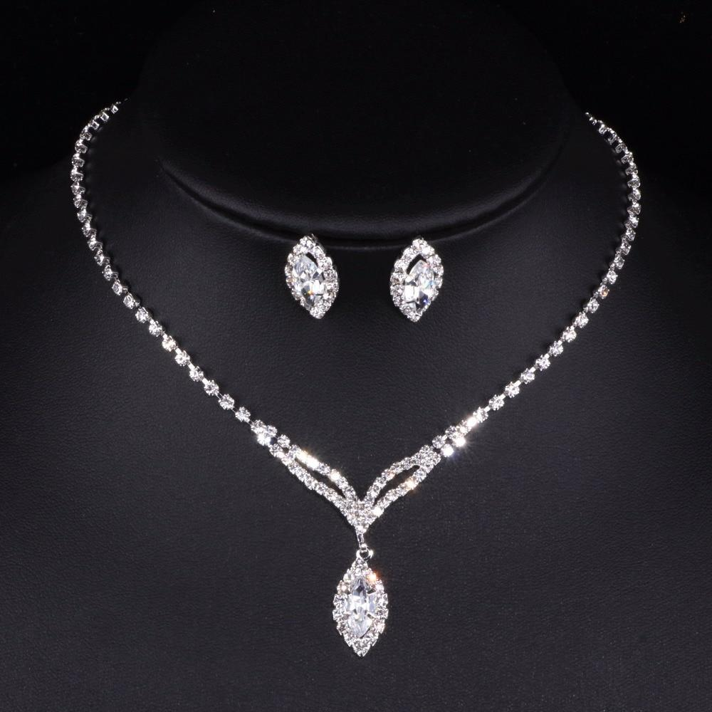 Fashion Water Drop Bridal Jewelry Sets for Women Clear Crystal Necklace Earrings Sets Bridal Party Wedding Jewelry Gift TZ008