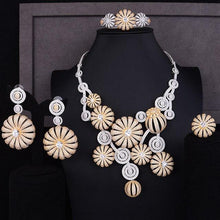 Load image into Gallery viewer, GODKI Super Luxury Poppy Flower Cubic Zircon Earring Necklace Set Indian Birdal Jewelry sets For Women African Beads Jewelry Set