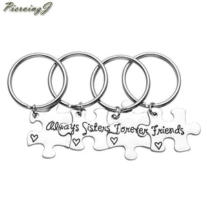 "PiercingJ 2018 Silver ""Always Sisters Forever Friends""Jigsaw Puzzle Piece Pendant Best Friends Necklaces BBF Friendship Keychain"